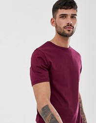 River Island T Shirt With Curved Hem In Berry Red