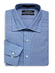 Saks Fifth Avenue Black Textured Classic Fit Dress Shirt Blue