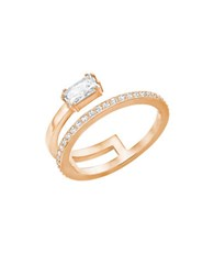 Swarovski Gray Crystal And 18K Rose Gold Plated Ring