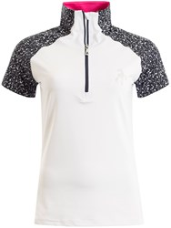 Green Lamb Francesca Raglan Zip Neck Polo White