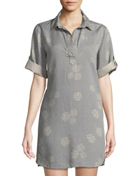 Chelsea And Theodore Collared Short Sleeve Tunic Gray Pink