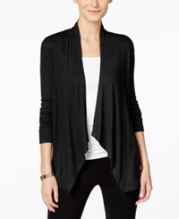 Inc International Concepts Petite Long Sleeve Open Front Cardigan Only At Macy's Deep Black