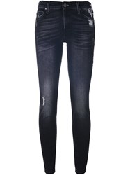 7 For All Mankind Distressed Skinny Jeans Black