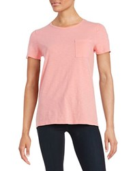 Lord And Taylor Petite Crewneck Pocket Tee Grapefruit