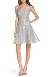 Sequin Hearts 'S Illusion Waist Lace Fit And Flare Dress Silver