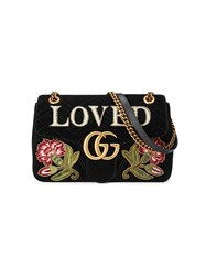 Gucci Gg Marmont Embroidered Velvet Shoulder Bag Silk Pearls Velvet Metal Black