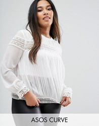 Asos Curve Pleated Blouse With Lace Inserts Cream