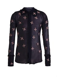 Jupe By Jackie Taste Embroidered Silk Chiffon Shirt Navy Multi