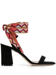 Gianna Meliani Contrasting Tie Fastening Sandals Black