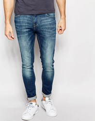 Pull And Bear Pullandbear Super Skinny Fit Jeans In Faded Mid Wash Blue Blue