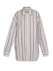 A.W.A.K.E. Oversized Striped Cotton Shirtdress White Multi