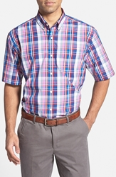 Cutter And Buck 'Howell Plaid' Classic Fit Short Sleeve Sport Shirt Big And Tall Blue Multi