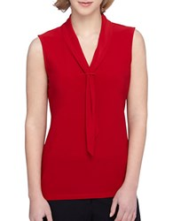 Tahari By Arthur S. Levine Sailor Tie Sleeveless Knit Top Red