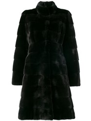 Liska Fur Mid Length Coat Black