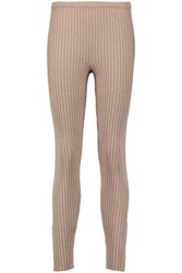 Magaschoni Ribbed Silk Blend Leggings Mushroom