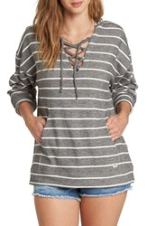 Billabong Weekend Lover Stripe Lace Up Hoodie Charcoal