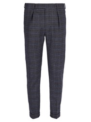 Paul Smith Checked Wool Trousers Blue Multi