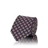 Sartorio Medallion Print Silk Faille Necktie Purple