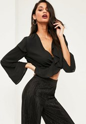Missguided Black Chiffon Ruffle Wrap Over Crop Blouse