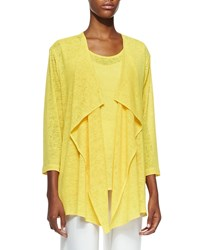 Caroline Rose Gauze Knit Draped Jacket Petite