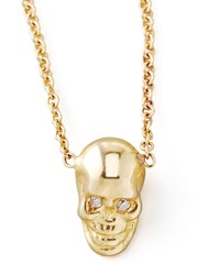 Yellow Gold Skull Pendant Necklace Zoe Chicco