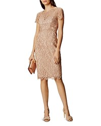 Karen Millen Lace Sheath Dress Neutral