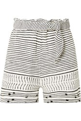 Lemlem Maya Belted Woven Cotton Blend Shorts Ivory