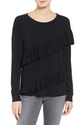 Pleione Women's French Terry Ruffle Sweatshirt