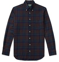 Gitman Brothers Vintage Button Down Collar Checked Cotton Flannel Shirt Blue