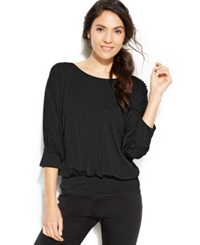 Studio M Dolman Sleeve Blouson Top Black