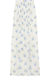 Vilshenko Jo Printed Pleated Silk Gazar Maxi Skirt Ivory