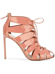 Francesco Russo Strappy Lace Up Sandals Pink And Purple