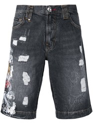 Philipp Plein Embroidered Tiger Shorts Grey