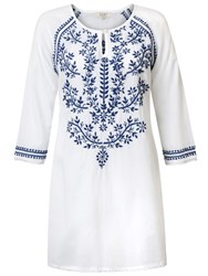 East Chikan Embroidered Tunic White Blue