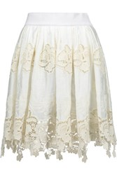 Just Cavalli Crochet Trimmed Cotton Mini Skirt Cream