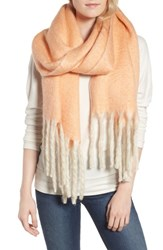 Free People Women's Kensington Brushed Herringbone Fringe Scarf Pink