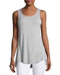 Neiman Marcus Ribbed Striped High Low Tank Gray White