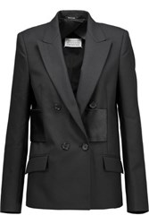 Maison Martin Margiela Satin Paneled Wool Blazer Black