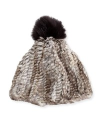 Adrienne Landau Rabbit And Fox Fur Pompom Hat Gray Goma