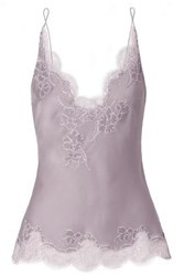Carine Gilson Anna Chantilly Lace Trimmed Silk Satin Camisole Lilac