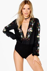 Boohoo Boutique Embroidered Plunge Bodysuit Black