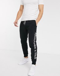 Abercrombie And Fitch Side Logo Stripe Print Cuffed Joggers In Black