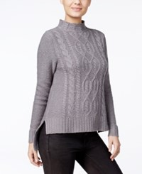 Kensie High Low Cable Knit Sweater Titanium