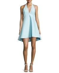 Halston Sleeveless V Neck A Line High Low Cocktail Dress