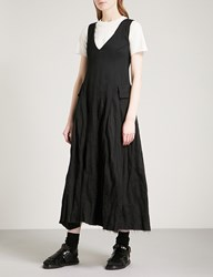 Song For The Mute Distressed Sleeveless Woven Midi Dress Black