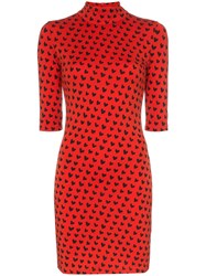 House Of Holland X Woolmark Heart Print High Neck Fitted Merino Wool Red