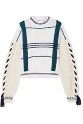 Carven Cable Knit Wool And Alpaca Blend Sweater Ecru
