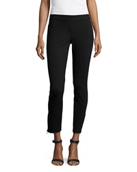 Max Studio Heavy Ponte Zip Ankle Leggings Black