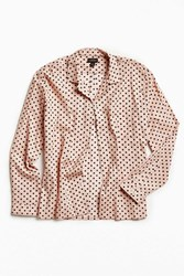 Urban Outfitters Uo Polka Dot Button Down Camp Shirt Pink