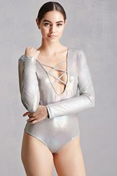 Forever 21 Pixie And Diamond Bodysuit Silver